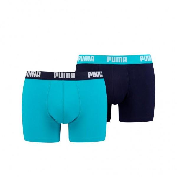 Puma BASIC Herren Boxer-Shorts 2er Pack, Aqua/Blue
